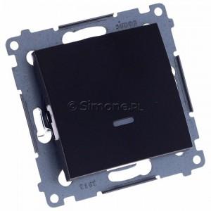Simon 54 DP1L.01/48 - Przycisk zwierny pojedynczy z podświetleniem typu LED w kolorze niebieskim 10A - Antracyt - Podgląd zdjęcia 360st. nr 1