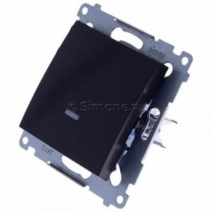 Simon 54 DP1L.01/48 - Przycisk zwierny pojedynczy z podświetleniem typu LED w kolorze niebieskim 10A - Antracyt - Podgląd zdjęcia 360st. nr 7