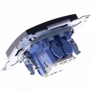 Simon 54 DP1L.01/48 - Przycisk zwierny pojedynczy z podświetleniem typu LED w kolorze niebieskim 10A - Antracyt - Podgląd zdjęcia 360st. nr 5