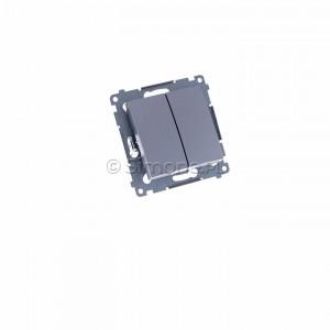 Simon 54 DP2.01/43 - Przycisk zwierny podwójny - Srebrny Mat - Podgląd zdjęcia 360st. nr 1
