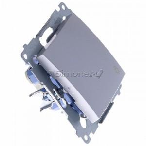 Simon 54 DS1L.01/43 - Przycisk zwierny z symbolem światła i podświetleniem typu LED w kolorze niebieskim 10A - Srebrny Mat - Podgląd zdjęcia 360st. nr 2