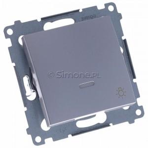 Simon 54 DS1L.01/43 - Przycisk zwierny z symbolem światła i podświetleniem typu LED w kolorze niebieskim 10A - Srebrny Mat - Podgląd zdjęcia 360st. nr 1