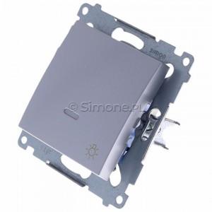 Simon 54 DS1L.01/43 - Przycisk zwierny z symbolem światła i podświetleniem typu LED w kolorze niebieskim 10A - Srebrny Mat - Podgląd zdjęcia 360st. nr 7