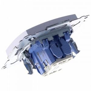 Simon 54 DS1L.01/43 - Przycisk zwierny z symbolem światła i podświetleniem typu LED w kolorze niebieskim 10A - Srebrny Mat - Podgląd zdjęcia 360st. nr 5