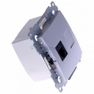 Simon 54 DT1.01/43 - Gniazdo telefoniczne pojedyncze RJ12 - Srebrny Mat - Podgląd zdjęcia 360st. nr 2