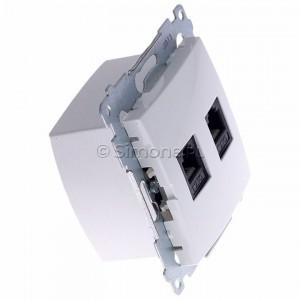 Simon 54 DT2.01/11 - Gniazdo telefoniczne podwójne 2xRJ12 - Biały - Podgląd zdjęcia 360st. nr 2