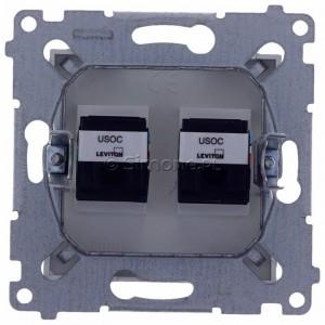 Simon 54 DT2.01/43 - Gniazdo telefoniczne podwójne 2xRJ12 - Srebrny Mat - Podgląd zdjęcia 360st. nr 9