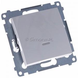 Simon 54 DW1AL.01/11 - Łącznik pojedynczy z podświetleniem typu LED w kolorze niebieskim 16A - Biały - Podgląd zdjęcia 360st. nr 1