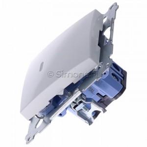 Simon 54 DW1AL.01/11 - Łącznik pojedynczy z podświetleniem typu LED w kolorze niebieskim 16A - Biały - Podgląd zdjęcia 360st. nr 6