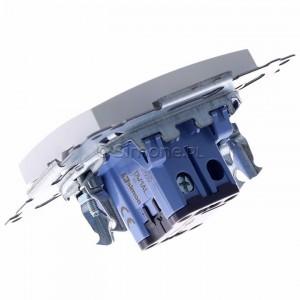Simon 54 DW1AL.01/11 - Łącznik pojedynczy z podświetleniem typu LED w kolorze niebieskim 16A - Biały - Podgląd zdjęcia 360st. nr 5