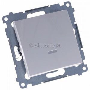 Simon 54 DW1L.01/11 - Łącznik pojedynczy z podświetleniem typu LED w kolorze niebieskim 10A - Biały - Podgląd zdjęcia 360st. nr 1