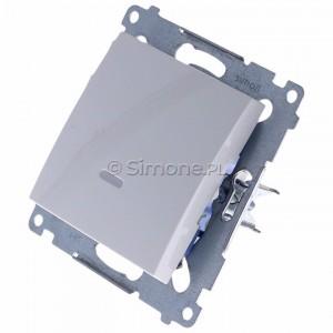 Simon 54 DW1L.01/11 - Łącznik pojedynczy z podświetleniem typu LED w kolorze niebieskim 10A - Biały - Podgląd zdjęcia 360st. nr 7
