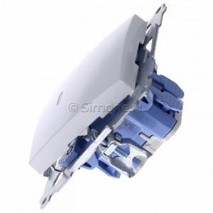 Simon 54 DW1L.01/11 - Łącznik pojedynczy z podświetleniem typu LED w kolorze niebieskim 10A - Biały - Podgląd zdjęcia 360st. nr 6
