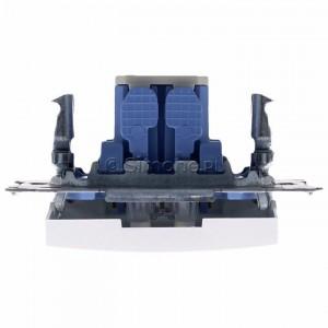 Simon 54 DW1L.01/11 - Łącznik pojedynczy z podświetleniem typu LED w kolorze niebieskim 10A - Biały - Podgląd zdjęcia 360st. nr 8