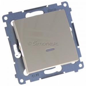 Simon 54 DW1L.01/41 - Łącznik pojedynczy z podświetleniem typu LED w kolorze niebieskim 10A - Kremowy - Podgląd zdjęcia 360st. nr 1