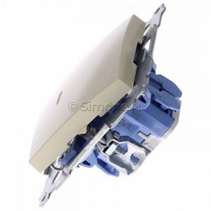 Simon 54 DW1L.01/41 - Łącznik pojedynczy z podświetleniem typu LED w kolorze niebieskim 10A - Kremowy - Podgląd zdjęcia 360st. nr 6