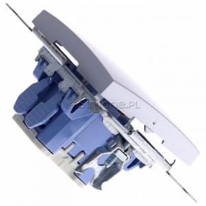 Simon 54 DW1L.01/43 - Łącznik pojedynczy z podświetleniem typu LED w kolorze niebieskim 10A - Srebrny Mat - Podgląd zdjęcia 360st. nr 3