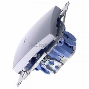 Simon 54 DW1L.01/43 - Łącznik pojedynczy z podświetleniem typu LED w kolorze niebieskim 10A - Srebrny Mat - Podgląd zdjęcia 360st. nr 6