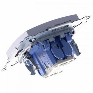 Simon 54 DW1L.01/43 - Łącznik pojedynczy z podświetleniem typu LED w kolorze niebieskim 10A - Srebrny Mat - Podgląd zdjęcia 360st. nr 5