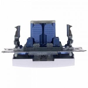 Simon 54 DW1L.01/43 - Łącznik pojedynczy z podświetleniem typu LED w kolorze niebieskim 10A - Srebrny Mat - Podgląd zdjęcia 360st. nr 8