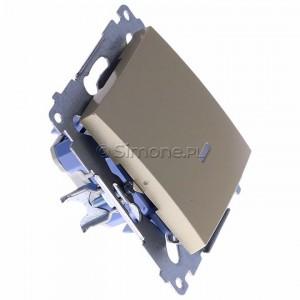 Simon 54 DW1L.01/44 - Łącznik pojedynczy z podświetleniem typu LED w kolorze niebieskim 10A - Złoty Mat - Podgląd zdjęcia 360st. nr 2