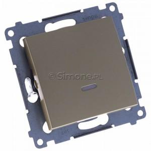 Simon 54 DW1L.01/44 - Łącznik pojedynczy z podświetleniem typu LED w kolorze niebieskim 10A - Złoty Mat - Podgląd zdjęcia 360st. nr 1