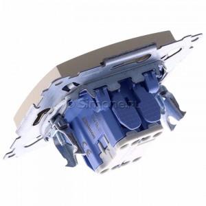 Simon 54 DW1L.01/44 - Łącznik pojedynczy z podświetleniem typu LED w kolorze niebieskim 10A - Złoty Mat - Podgląd zdjęcia 360st. nr 5