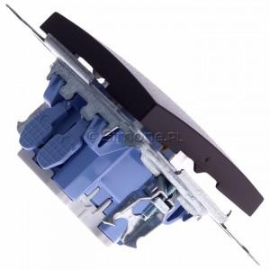 Simon 54 DW1L.01/46 - Łącznik pojedynczy z podświetleniem typu LED w kolorze niebieskim 10A - Brąz Mat - Podgląd zdjęcia 360st. nr 3