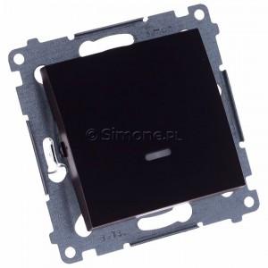 Simon 54 DW1L.01/46 - Łącznik pojedynczy z podświetleniem typu LED w kolorze niebieskim 10A - Brąz Mat - Podgląd zdjęcia 360st. nr 1