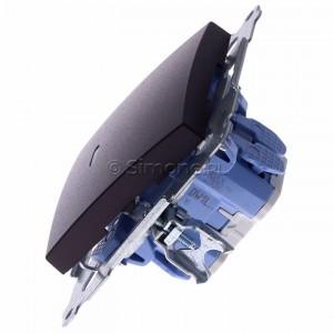 Simon 54 DW1L.01/46 - Łącznik pojedynczy z podświetleniem typu LED w kolorze niebieskim 10A - Brąz Mat - Podgląd zdjęcia 360st. nr 6