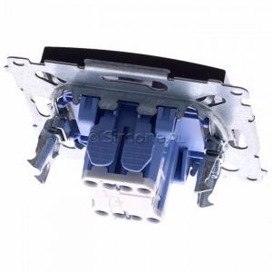 Simon 54 DW1L.01/46 - Łącznik pojedynczy z podświetleniem typu LED w kolorze niebieskim 10A - Brąz Mat - Podgląd zdjęcia 360st. nr 4