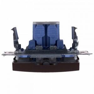 Simon 54 DW1L.01/46 - Łącznik pojedynczy z podświetleniem typu LED w kolorze niebieskim 10A - Brąz Mat - Podgląd zdjęcia 360st. nr 8
