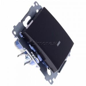 Simon 54 DW1L.01/48 - Łącznik pojedynczy z podświetleniem typu LED w kolorze niebieskim 10A - Antracyt - Podgląd zdjęcia 360st. nr 2
