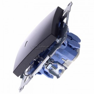 Simon 54 DW1L.01/48 - Łącznik pojedynczy z podświetleniem typu LED w kolorze niebieskim 10A - Antracyt - Podgląd zdjęcia 360st. nr 6