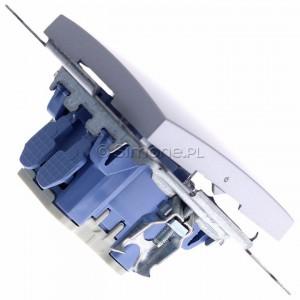 Simon 54 DW1ZL.01/43 - Łącznik pojedynczy z sygnalizacją załączenia typu LED w kolorze niebieskim - Srebrny Mat - Podgląd zdjęcia 360st. nr 3