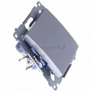 Simon 54 DW1ZL.01/43 - Łącznik pojedynczy z sygnalizacją załączenia typu LED w kolorze niebieskim - Srebrny Mat - Podgląd zdjęcia 360st. nr 2