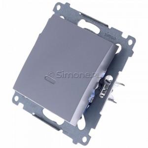Simon 54 DW1ZL.01/43 - Łącznik pojedynczy z sygnalizacją załączenia typu LED w kolorze niebieskim - Srebrny Mat - Podgląd zdjęcia 360st. nr 7