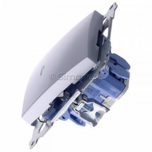 Simon 54 DW1ZL.01/43 - Łącznik pojedynczy z sygnalizacją załączenia typu LED w kolorze niebieskim - Srebrny Mat - Podgląd zdjęcia 360st. nr 6