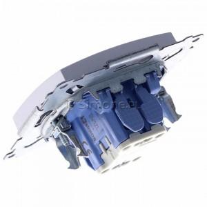 Simon 54 DW1ZL.01/43 - Łącznik pojedynczy z sygnalizacją załączenia typu LED w kolorze niebieskim - Srebrny Mat - Podgląd zdjęcia 360st. nr 5
