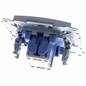 Simon 54 DW1ZL.01/43 - Łącznik pojedynczy z sygnalizacją załączenia typu LED w kolorze niebieskim - Srebrny Mat - Podgląd zdjęcia 360st. nr 4
