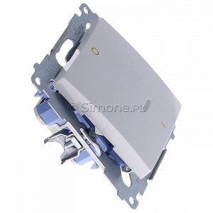 Simon 54 DW2L.01/11 - Łącznik dwubiegunowy z podświetleniem typu LED w kolorze niebieskim - Biały - Podgląd zdjęcia 360st. nr 2