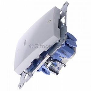 Simon 54 DW2L.01/11 - Łącznik dwubiegunowy z podświetleniem typu LED w kolorze niebieskim - Biały - Podgląd zdjęcia 360st. nr 6