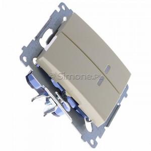 Simon 54 DW5ABL.01/41 - Łącznik podwójny do wersji IP44 z podświetleniem typu LED w kolorze niebieskim 16A - Kremowy - Podgląd zdjęcia 360st. nr 2