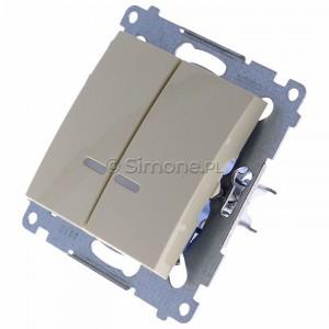 Simon 54 DW5ABL.01/41 - Łącznik podwójny do wersji IP44 z podświetleniem typu LED w kolorze niebieskim 16A - Kremowy - Podgląd zdjęcia 360st. nr 7