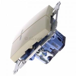 Simon 54 DW5ABL.01/41 - Łącznik podwójny do wersji IP44 z podświetleniem typu LED w kolorze niebieskim 16A - Kremowy - Podgląd zdjęcia 360st. nr 6