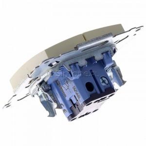 Simon 54 DW5ABL.01/41 - Łącznik podwójny do wersji IP44 z podświetleniem typu LED w kolorze niebieskim 16A - Kremowy - Podgląd zdjęcia 360st. nr 5