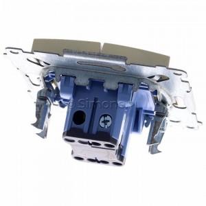 Simon 54 DW5ABL.01/41 - Łącznik podwójny do wersji IP44 z podświetleniem typu LED w kolorze niebieskim 16A - Kremowy - Podgląd zdjęcia 360st. nr 4