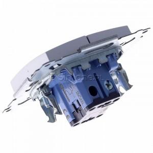 Simon 54 DW5ABL.01/43 - Łącznik podwójny do wersji IP44 z podświetleniem typu LED w kolorze niebieskim 16A - Srebrny Mat - Podgląd zdjęcia 360st. nr 5