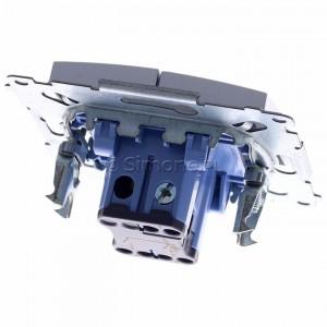 Simon 54 DW5ABL.01/43 - Łącznik podwójny do wersji IP44 z podświetleniem typu LED w kolorze niebieskim 16A - Srebrny Mat - Podgląd zdjęcia 360st. nr 4
