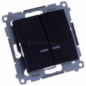Simon 54 DW5ABL.01/48 - Łącznik podwójny do wersji IP44 z podświetleniem typu LED w kolorze niebieskim 16A - Antracyt - Podgląd zdjęcia 360st. nr 1